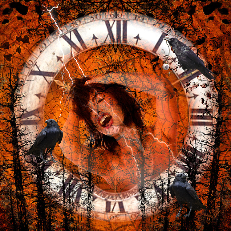 Clock face encircling the face of young woman pulling her hair on a Halloween themed background