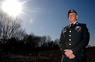 EAST BRUNSWICK NJ - Paratrooper Coleman Bean in front of his  East Brunswick home after being  deployed for a year in Iraq. Sadly Army Sgt. Bean, after two more tours in Iraq committed suicide on Sept. 06, 2008.  On March 15, 2011, Rep. Rush Holt (D-NJ12) introduced H.R. 1089: Sergeant Coleman S. Bean Reserve Component Suicide Prevention Act, the bill is still in committee and has not yet reach the House or Senate to the date.(Photo by Miguel Juárez Lugo).