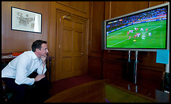 Prime Minister David Cameron watches England's World Cup game against Slovenia inside No10 Downing Street, London, UK, Wednesday June 23, 2010. Photo By Andrew Parsons / i-Images.