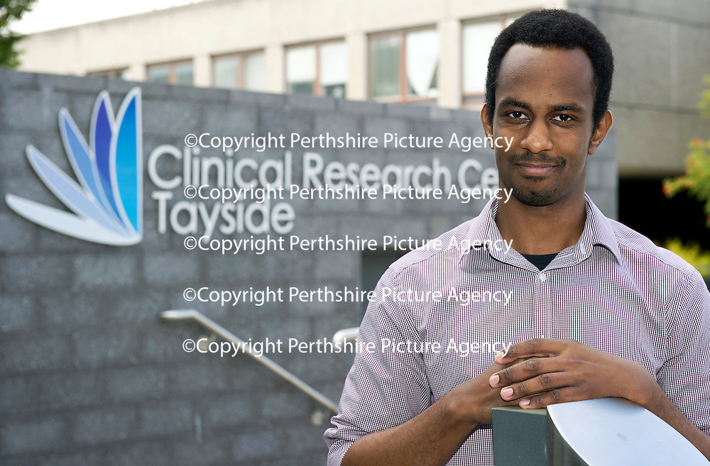 Abdullah Ibrahim a medical student at the University of Dundee who has been awarded the Elma Reid Bursary for his research into ovarian cancer...17.08.11<br /> Picture by Graeme Hart.<br /> Copyright Perthshire Picture Agency<br /> Tel: 01738 623350  Mobile: 07990 594431