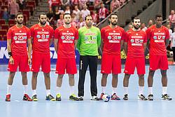10.04.2016, Ergo Arena, Gdansk, POL, IHF Herren, Olympia Qualifikation, Polen vs Tunesien, im Bild Oussama Hosni, Amine Bannour, Mohamed Soussi, Makrem Missaoui, Marouan Chouiref, Khaled Haj Youssef, Wael Jallouz // during the IHF men's Olympic Games handball qualifier between Poland and Tunisia at the Ergo Arena in Gdansk, Poland on 2016/04/10. EXPA Pictures © 2016, PhotoCredit: EXPA/ Newspix/ Tomasz Zasinski<br /> <br /> *****ATTENTION - for AUT, SLO, CRO, SRB, BIH, MAZ, TUR, SUI, SWE only*****