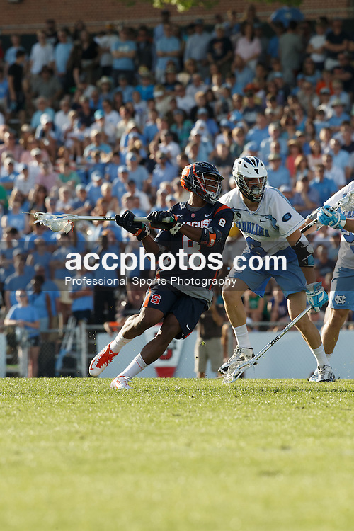 CHAPEL HILL, NC - APRIL 11: Hakeem Lecky #8 of Syracuse Orange plays against the North Carolina Tar Heels on April 11, 2015 at Fetzer Field in Chapel Hill, North Carolina. North Carolina won 17-15. (Photo by Peyton Williams/US Lacrosse/Getty Images) *** Local Caption *** Hakeem Lecky