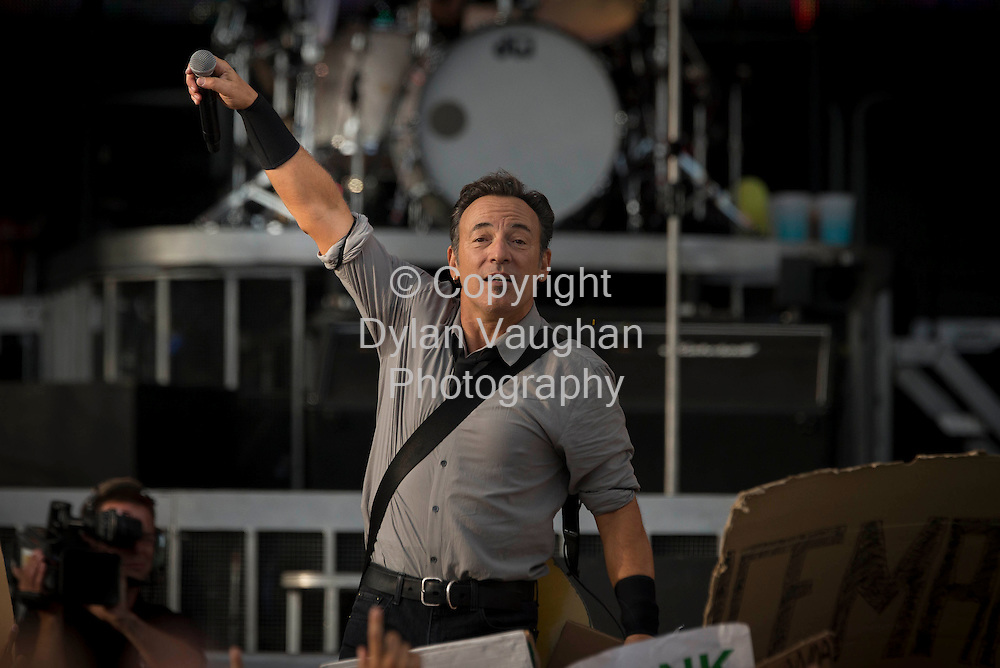 27/7/2013<br /> Pictured at the Wrecking Ball Weekender at Nowlan Park Kilkenny was Bruce Springsteen.<br /> Picture Dylan Vaughan.