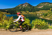 Mountain biking at Trout Lake, Uncompahgre National Forest, Colorado USA