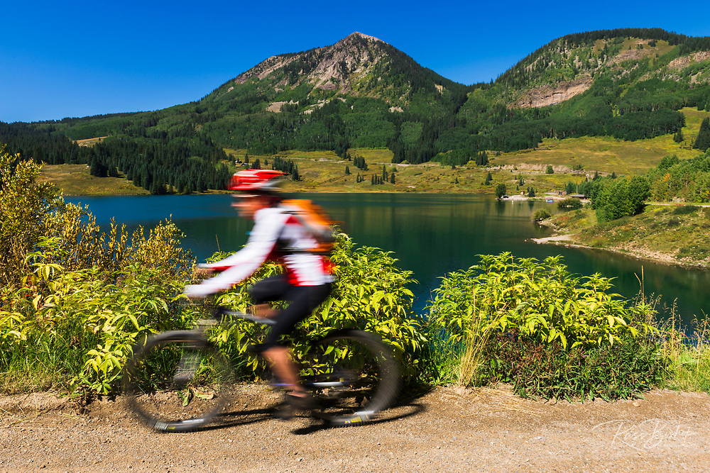 Mountain biking at Trout Lake, Uncompahgre National Forest, Colorado USA (MR)
