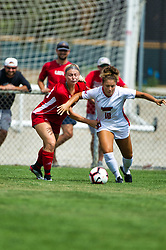 NORMAL, IL - August 10:  Ashley Santos on right during a nonconference exhibition women's soccer match between the Southern Illinois Edwardsville Cougars and the Illinois State Redbirds August 10 2019 on Adelaide Street Field in Normal IL (Photo by Alan Look)
