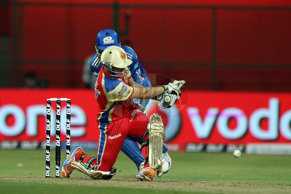 Ab de Villiers during match 8 of the the Indian Premier League ( IPL ) Season 4 between the Royal Challengers Bangalore and the Mumbai Indians held at the Chinnaswamy Stadium, Bangalore, Karnataka, India on the 12th April 2011..Photo by Ron Gaunt/BCCI/SPORTZPICS