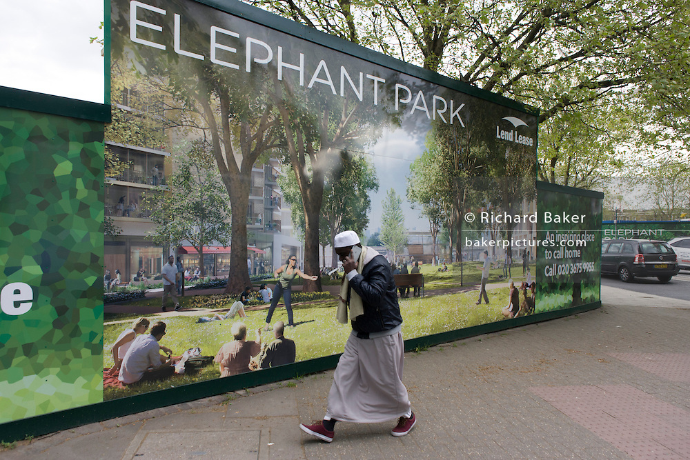 South Londoners walk past a regeneration project hoarding image at Elephant & Castle, London borough of Southwark. Southwark Council's development partner, Lend Lease is regenerating over 28 acres across three sites at the heart of Elephant & Castle, in what is the last major regeneration opportunity in zone 1 London. The vision for the £1.5 billion regeneration is to build on the area's strengths and vibrant character in order to re-establish Elephant & Castle as one of London's most flourishing urban quarters. The Elephant & Castle regeneration is of a scale rarely seen in central London and includes almost 3,000 new homes, plus office, retail, community, leisure and restaurant space.