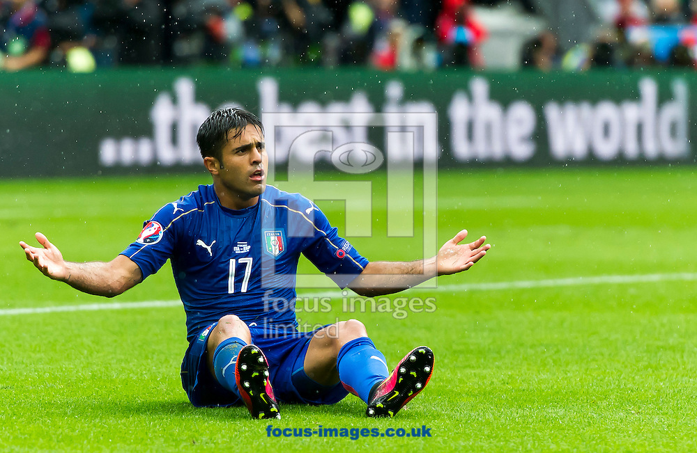 Eder of Italy protests after being fouled during the UEFA Euro 2016 match at Stade de France, Paris<br /> Picture by Anthony Stanley/Focus Images Ltd 07833 396363<br /> 27/06/2016