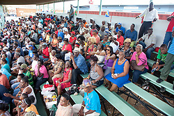The audience cheers for their team at the WICB Professional Cricket League Regional 4-Day Tournament on Sunday, February 21, 2016 at the Addelita Cancryn Junior High School.  © Aisha-Zakiya Boyd