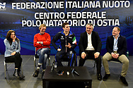 Roma 13-3-2019 Centro Federale di Ostia <br /> Swimmer Manuel Bortuzzo (c), his mother Rossella Corona (1L), his father Franco (2L), italian swimming federation president Paolo Barelli (2r) and italian press officer Francesco Passariello during a meeting with the press. Manuel Bortuzzo was shot in the back due to a mistaken identity and is paralysed from the waist down since then. This is the first outing of Manuel from the hospital and the rehabilitation center.  <br /> Foto Andrea Staccioli / Deepbluemedia / Insidefoto