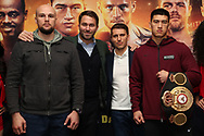 March 6, 2019; New York, NY, USA; Sergey Kuzmin, Eddie Hearn, Vadim Kornilov and WBA light heavyweight champion Dmitriy Bivol pose after the final press conference for the March 9, 2019 fight card at the Turning Stone Resort and Casino in Verona, NY.  Mandatory Credit: Ed Mulholland/Matchroom Boxing USA