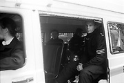 Police sitting in Police van,at the 2nd Criminal Justice March, Victoria, London, UK, 23rd of July 1994.