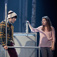 Picture Shows : Martin Quinn as Oskar and Rebecca Benson as Eli.<br /> <br /> Picture &copy; Drew Farrell. Tel : 07721-735041<br /> Images offered on a speculative basis. Payment at all times.<br /> <br /> The full cast is: Rebecca Benson, Paul Thomas Hickey, Lorraine M McIntosh, Angus Miller, Cristian Ortega, Martin Quinn, Chris Reilly, Stuart Ryan, Ewan Stewart.<br /> Director John Tiffany and Steven Hoggett as Associate Director.<br /> <br /> UK premiere of Let The Right One In, presented by the National Theatre of Scotland, by arrangement with Marla Rubin Productions Ltd and Bill Kenwright, in association with Dundee Rep Theatre.<br /> Performances Dundee Rep Theatre  05/06/2013&nbsp;-&nbsp;29/06/2013 <br /> &nbsp;<br /> Tony and Olivier Award-winning director John Tiffany heads up a world-class creative team to bring the cult Swedish romantic horror film Let the Right One In to the Scottish stage. The cast features Deacon Blue and McIntoshRoss musician, Lorraine McIntosh and Dundonian actor Angus Miller, who will be making his professional theatrical debut in his home-town.&nbsp;<br /> &nbsp;<br /> John Tiffany will be working with Steven Hoggett as Associate Director. The two previously worked together on Black Watch (currently on tour in San Francisco) and The Bacchae for the National Theatre of Scotland and most recently on Once (winner of eight Tony awards and currently playing on Broadway and the West End).&nbsp;&nbsp;<br /> &nbsp;<br /> The production will feature John and Steven's trademark high physicality and lyricism in the telling of this horror story and music by Icelandic composer &Oacute;lafur Arnalds, who recently created the score for the successful ITV detective series Broadchurch.<br /> &nbsp;<br /> The adaption of John Ajvide Lindqvist's novel and film is by Jack Thorne, one of the original creators and writers of hit Channel 4 show Skins, who in May last year, uniquely won writing BAFTAs for both The Fades and This Is England '88.<br /> &nbsp;<br /> John Ajvide Lindqvist's original 2004 novel Let the Right One In and Tomas Alfredson's (Director of Tinker, Tailor, Soldier,Spy) &nbsp;subsequent 2008 film of the same name
