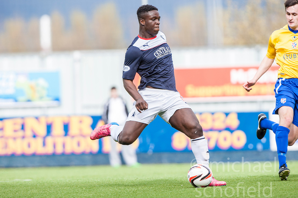 Falkirk's Ollie Durojaiye.<br /> half time : Falkirk v Cowdenbeath, Scottish Championship game played today at The Falkirk Stadium.<br /> &copy; Michael Schofield.