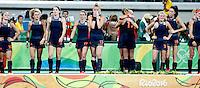 RIO DE JANEIRO -  Teleurstelling bij Oranje na de finale tussen de dames van Nederland en  Groot-Brittannie (3-3) in het Olympic Hockey Center tijdens de Olympische Spelen in Rio.  GB wint na shoot outs COPYRIGHT KOEN SUYK