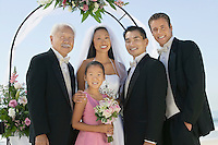 Bride and Groom with best man and family outdoors (portrait)