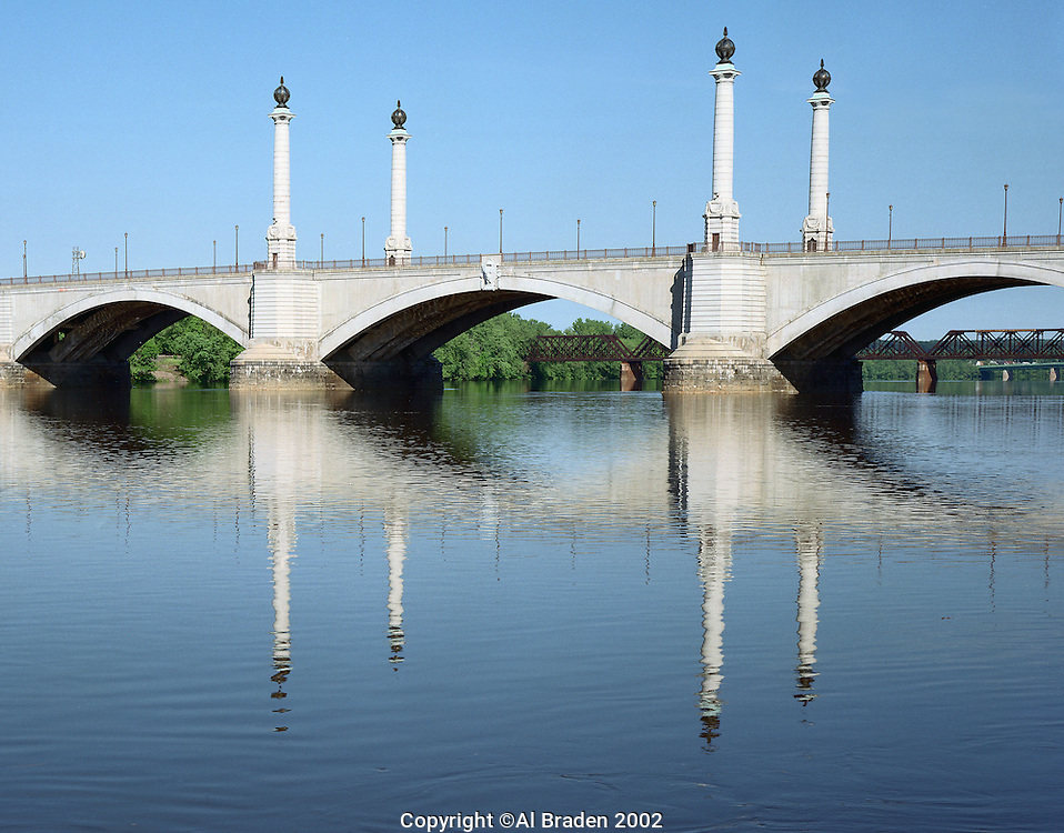 Memorial Bridge over the Connecticut River, Morning, Springfield, MA