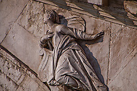 Detail of the sculptured angel on the Rialto Bridge in Venice, Italy.
