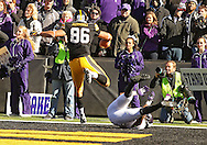 October 26 2013: Iowa Hawkeyes tight end C.J. Fiedorowicz (86) scores the game winning touchdown on an 8 yard pass during overtime of the NCAA football game between the Northwestern Wildcats and the Iowa Hawkeyes at Kinnick Stadium in Iowa City, Iowa on October 26, 2013. Iowa defeated Northwestern 17-10 in overtime.