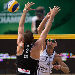 04.07.2013, Lake Szelag, Stare Jablonki, POL, FIVB Beach Volleyball Weltmeisterschaft, im Bild Angriff Jonathan Erdmann (#1 GER) - Block Ryan Doherty (USA), // during the FIVB Beach Volleyball World Championships at the Lake Szelag, Stare Jablonki, Poland on 2013/07/04. EXPA Pictures © 2013, PhotoCredit: EXPA/ Eibner/ Kurth ***** ATTENTION - OUT OF GER *****