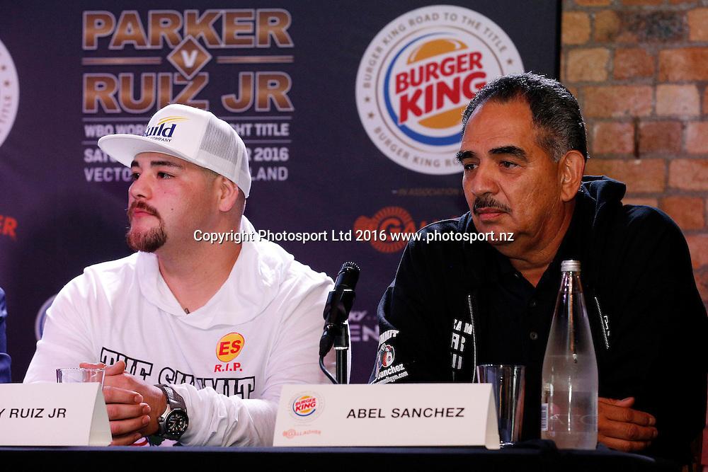 Andy Ruiz Jr and Abel Sanchez, Final press conference before the December 10, Parker v Ruiz, WBO world boxing heavyweight title fight. Rec Bar, Auckland. 8 December 2016 / www.photosport.nz