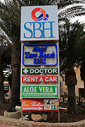 Tourism services signs at Costa Calma resort, Fuerteventura, Canary Islands, Spain