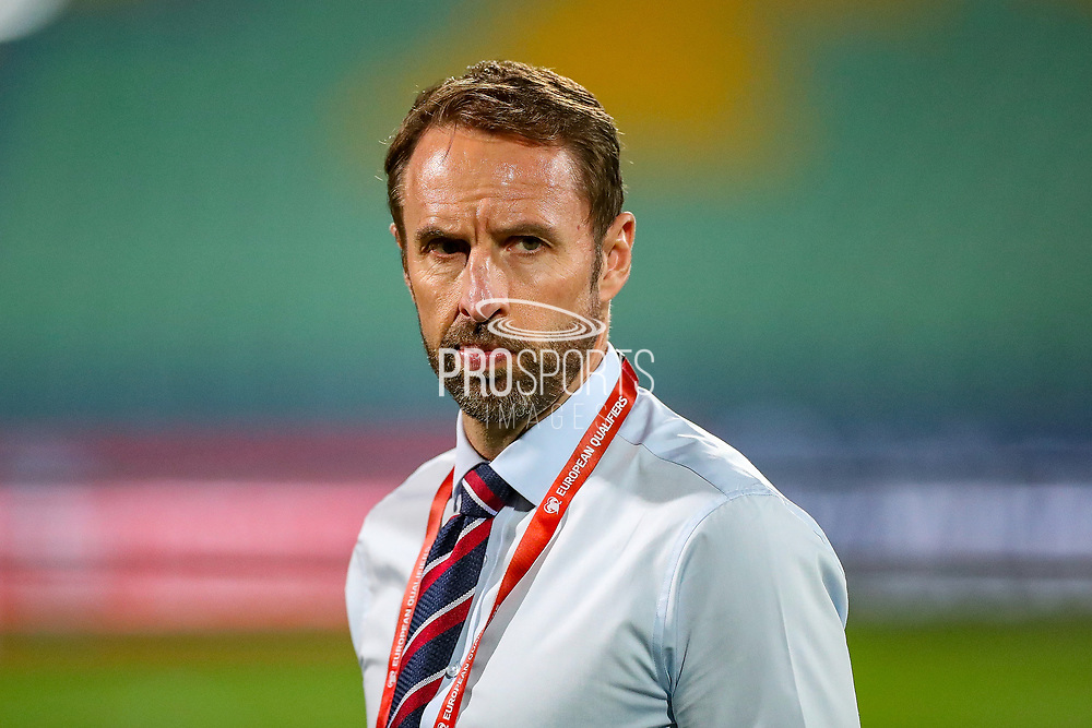 England Head Coach Gareth Southgate during the UEFA European 2020 Qualifier match between Bulgaria and England at Stadion Vasil Levski, Sofia, Bulgaria on 14 October 2019.