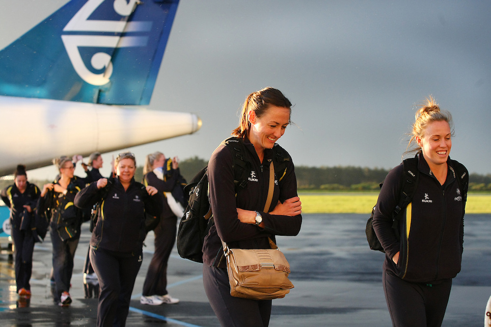 Australia's Rebecca Bulley, left, and Kim Green arrive with the rest of the Diamonds netball team for  the New World Netball Series match, Invercargill Airport, Invercargill, New Zealand, Wednesday, September 11, 2013. Credit:SNPA / Dianne Manson.