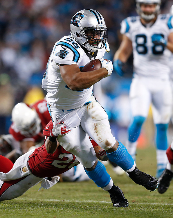 CHARLOTTE, NC - JAN 24:  Running back Jonathan Stewart #28 of the Carolina Panthers runs during the NFC Championship game against the Arizona Cardinals at Bank of America Stadium on January 24, 2016 in Charlotte, North Carolina.