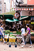 Fresh market on Gage Street, Central, Hong Kong.
