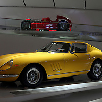 Ferrari 275 GTB4 (front) and Alfa Romeo Bimotore (back) at Museo Casa Enzo Ferrari, 2014
