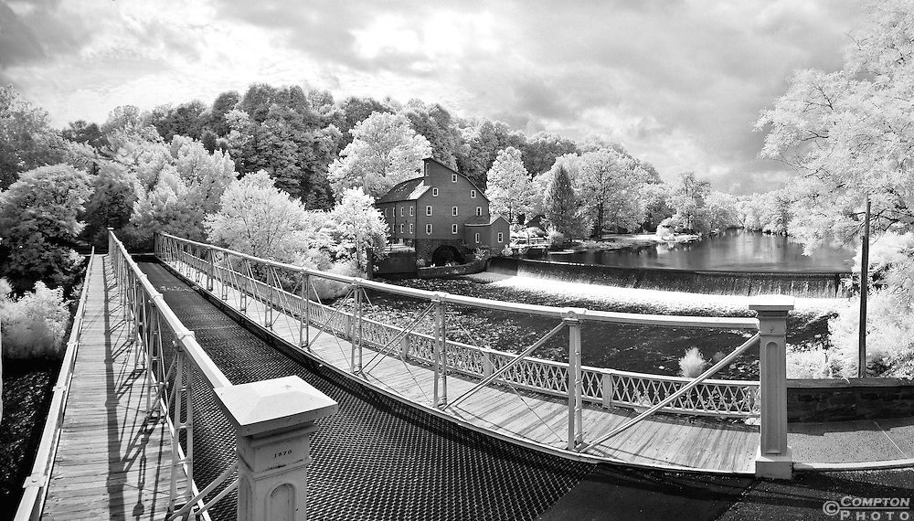 The Clinton bridge and famous Red Mill from an unual vantage point and in captured in the near infrared spectrum.