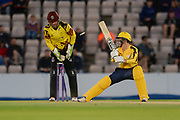 Calvin Dickinson of Hampshire is bowled by Max Waller of Somerset during the NatWest T20 Blast South Group match between Hampshire County Cricket Club and Somerset County Cricket Club at the Ageas Bowl, Southampton, United Kingdom on 18 August 2017. Photo by Dave Vokes.