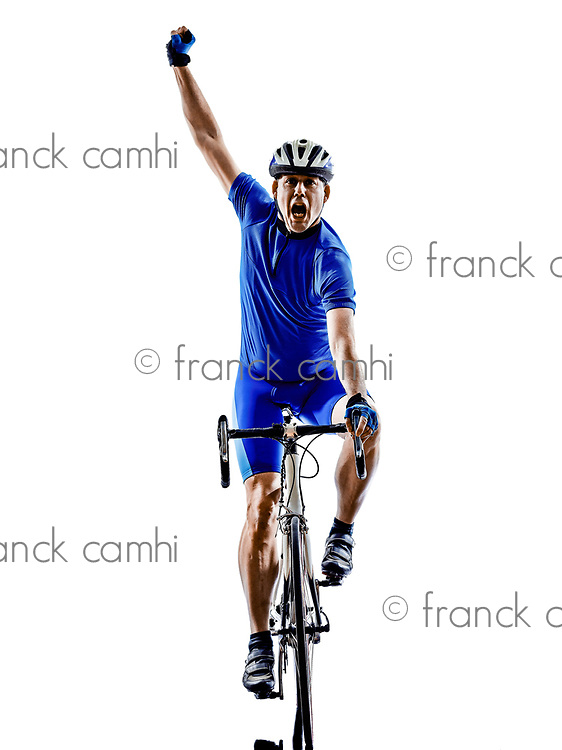 one cyclist road bicycle celebrating in silhouette on white background