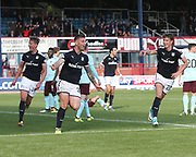 30th September 2017, Dens Park, Dundee, Scotland; Scottish Premier League football, Dundee versus Hearts; Dundee's Kerr Waddell celebrates after scoring for 1-0