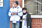 Supporters try and get players signatures during the Sky Bet League 1 match between Bury and Walsall at Gigg Lane, Bury, England on 16 January 2016. Photo by Mark Pollitt.