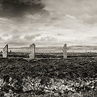Ring of Brodgar standing stone circle wide panorama showing the Loch Of Harray in the background.  Orkney Islands, north Scotland.  The Ring of Brodgar is a World Heritage Site