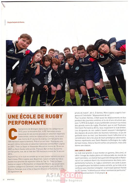 Photo de l'equipe benjamin 2 de l'ecole de Rugby du RCV, commande pour le magazine Bretons de Juin 2013