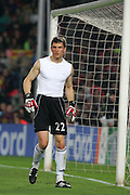 Bayern Munich´s goalkeeper Hans Jörg Butt loses his shirt during the UEFA Champions League quarter final first leg match between FC Barcelona and FC Bayern Munich at the Camp Nou stadium on April 8, 2009 in Barcelona, Spain.