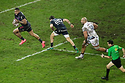 Waisea Nayacalevu Vuidravuwalu (Stade Francais) gonna scored a try, Arthur Coville (Stade Francais Paris), Johan Aliouat (Union Bordeaux-Begles), referee during the French championship Top 14 Rugby Union match between Stade Francais Paris and Union Bordeaux-Begles on December 30, 2017 at Jean Bouin stadium in Paris, France - Photo Stephane Allaman / ProSportsImages / DPPI