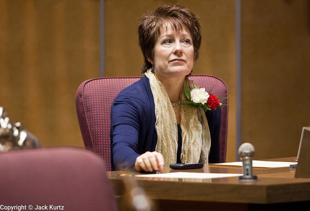 09 JANUARY 2012 - PHOENIX, AZ:  Republican State Sen Nancy Barto at the state legislature Monday. Gov Brewer delivered her State of the State inside while outside representatives of interest groups picketed and protested. The Arizona legislature started its 2012 session and Gov. Jan Brewer delivered her State of the State Monday, Jan 9.                   PHOTO BY JACK KURTZ