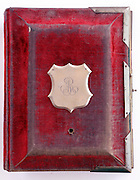 cover of a closed vintage photo album from late 1800s