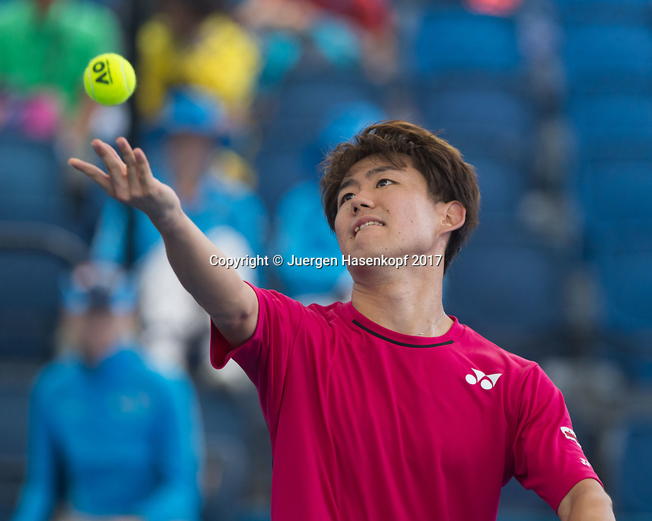 YOSHIHITO NISHIOKA (JPN)<br /> <br /> Tennis - Brisbane International  2017 - ATP -  Pat Rafter Arena - Brisbane - QLD - Australia  - 3 January 2017. <br /> &copy; Juergen Hasenkopf