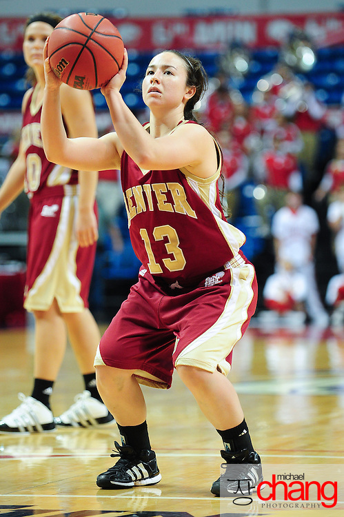 Denver's guard, Emiko Smith (13) shoots a free throw in the second half of play in Mobile, AL. South Alabama defeated Denver 57-51 on Jan 7, 2012...