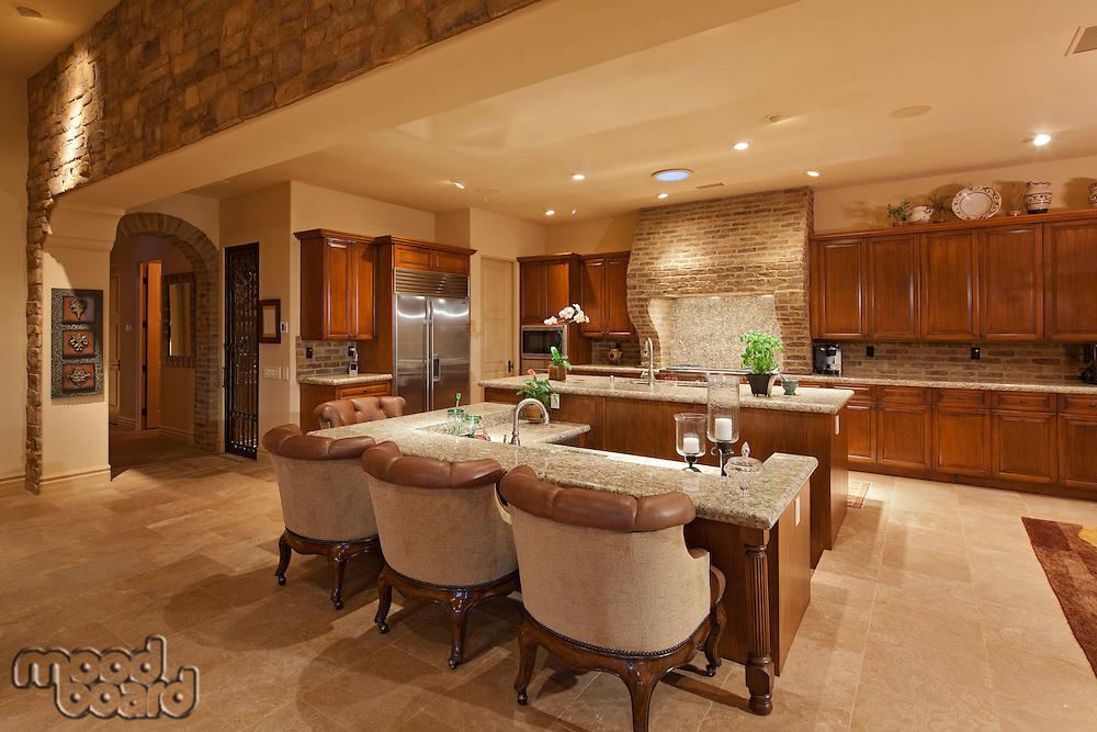 Luxury open plan kitchen with bar