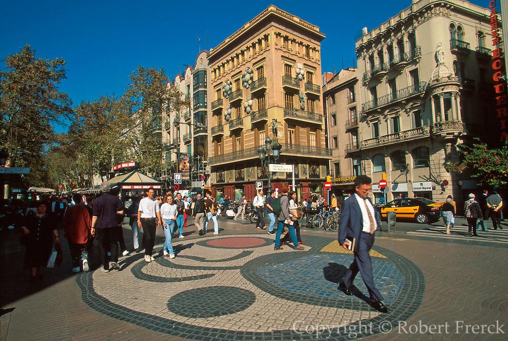 SPAIN, BARCELONA Las Ramblas, Juan Miro mosaic