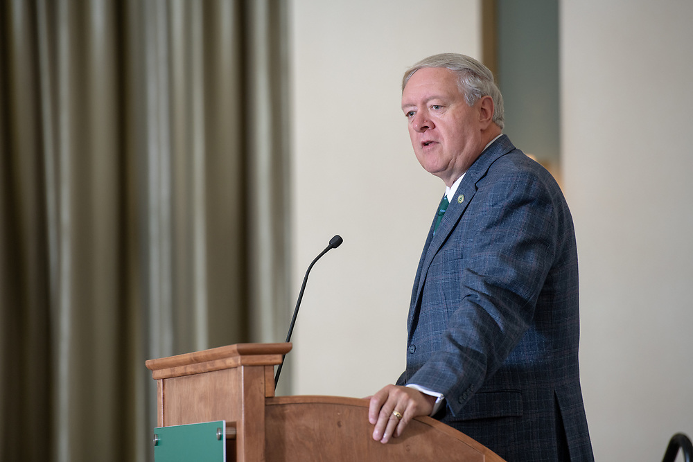President Nellis speaks at the 26th Annual Classified Staff  Service Award Ceremony.  Photo by Ben Siegel