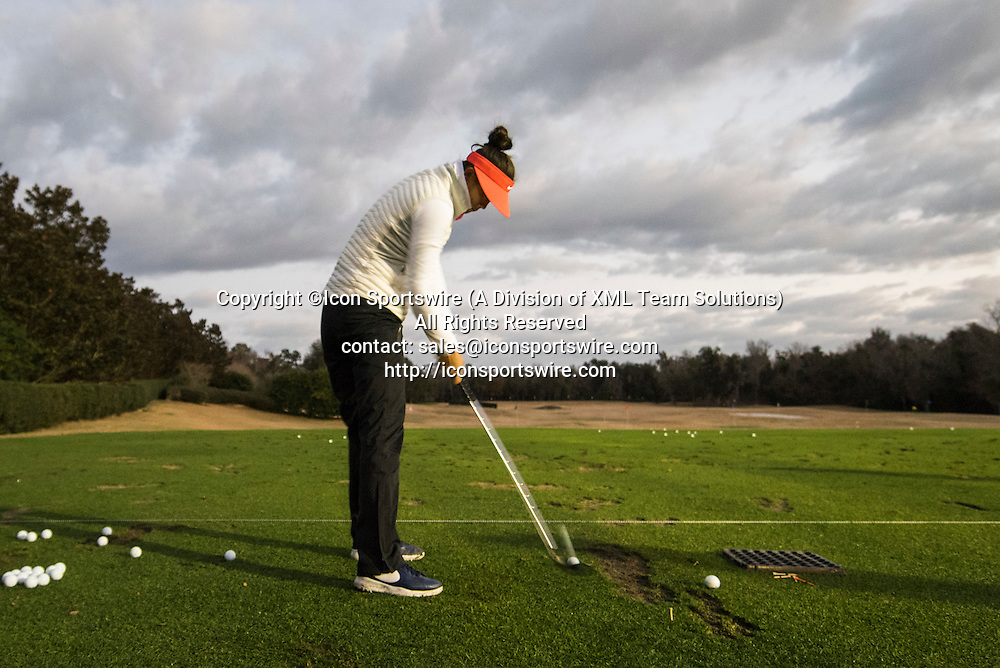 February 06, 2016: Michelle Wie warms up prior to the third round of the Coates Golf Championship in Ocala, FL. (Photograph by Roy K. Miller/Icon Sportswire)