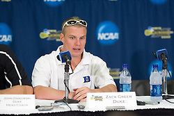 26 May 2007: Duke Blue Devils attackman Zack Greer (25) talks with media in a press conference after a 12-11 win over the Cornell Big Red in the NCAA Semifinals at M&T Bank Stadium in Baltimore, MD.